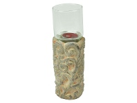 LivingStyles French Terra Cotta and Glass Candle Holder