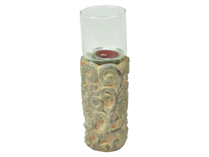 French Terra Cotta and Glass Candle Holder