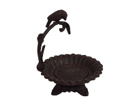 Rustic Cast Iron Flower Dish with Bird