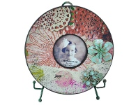LivingStyles Tisserand Wooden Round Photo Frame with Easel