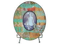 LivingStyles Tisserand Wooden Oval Photo Frame with Easel