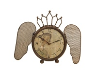LivingStyles Iron Clock with Butterfly Wings and Girl Image