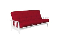 LivingStyles Delta Solid Timber Futon Sofa Bed Frame Only, Double, White