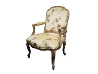 LivingStyles Louis XV Floral Fabric Upholstered Solid Beech Timber Armchair - White Wash