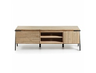 LivingStyles Detroit Solid Acacia Timber and Metal TV Unit, 165cm
