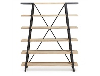 LivingStyles Detroit Solid Acacia Timber and Metal Bookshelf