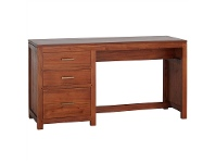 LivingStyles Paris Solid Mahogany Timber 3 Drawer 150cm Desk - Light Pecan