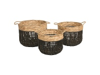 Farrel 3 Piece Water Hyacinth Basket Set, Black