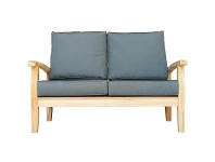 LivingStyles Lelia Solid Teak Timber 2 Seater Outdoor Sofa with Cushions