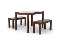 LivingStyles Amsterdam 3 Piece Mahogany Timber Dining Set, 120cm, Mahogany