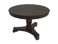 LivingStyles Queen Ann Mahogany Timber Round Dining Table, 120cm, Chocolate