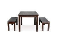 LivingStyles RPN Solid Mahogany 150x90cm Dining Table and 2 Benches in Chocolate