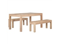 LivingStyles Amsterdam 3 Piece Solid Mahogany Timber Dining Set, White Wash