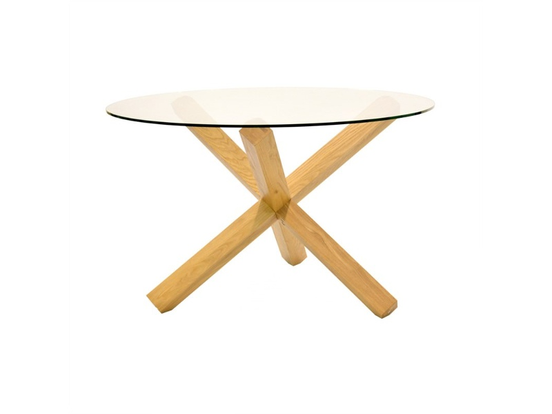 Dacey Glass Top Oak Timber Round Dining Table, 120cm