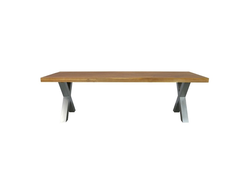 Keane Solid Acacia Timber & Steel 250cm Indoor/Outdoor Dining Table