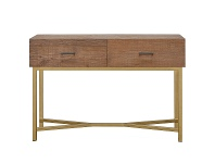 Ricky Reclaimed Pine Timber & Iron Console Table, 120cm, Natural / Gold