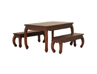 LivingStyles Liam Solid Mahogany Timber 3 Piece 150cm Dining Set - Mahogany