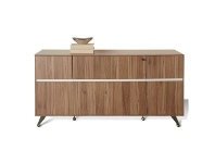 LivingStyles Milando 2 Drawer Filing Cabinet with Cupboard, Walnut