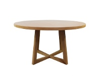 LivingStyles Zed Wooden Round Dining Table, 150cm, Natural