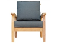 LivingStyles Lelia Solid Teak Timber Outdoor Armchair with Cushions
