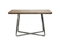 LivingStyles Cupio Wood and Stainless Steel Console Table