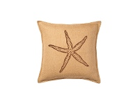 LivingStyles Westie Washed Burlap Scatter Cushion, Brown Starfish