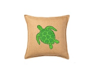 LivingStyles Westie Washed Burlap Scatter Cushion, Green Turtle