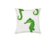 LivingStyles Mossman Cotton Canvas Scatter Cushion, Green Seahorse