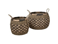 LivingStyles Equador 2 Piece Woven Water Hyacinth Basket Set, Round