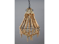 LivingStyles Palmira Wooden Beaded Pendant Light, Small, Natural