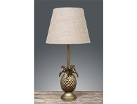 LivingStyles St Martin Pineapple Metal Table Lamp with Natural Linen Shade - Antique Brass