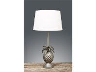 LivingStyles St Martin Pineapple Metal Table Lamp with White Linen Shade - Antique Silver