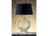 LivingStyles Isabella Embossed Glass Table Lamp with Black Linen Shade