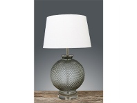 LivingStyles Isabella Embossed Glass Table Lamp with Ivory Linen Shade
