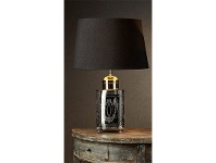 LivingStyles Kensington Large Metal Tea Caddy Table Lamp with Black Linen Shade