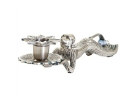 LivingStyles Monkey Brass Candle Holder, Antique Silver