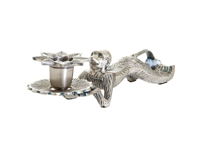 Monkey Brass Candle Holder, Antique Silver