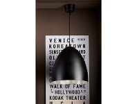 LivingStyles Egg Metal Pendant Light, Black/Silver