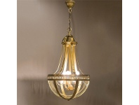 LivingStyles Doma Metal and Glass Pendant Light, Brass