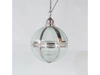 LivingStyles Vegas Metal and Glass Ball Pendant Light, Small, Nickel