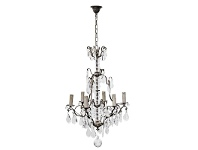 LivingStyles Roche Cast Iron & Crystal Baroque Chandelier