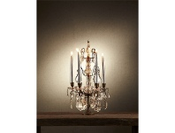LivingStyles Estella Metal Candelabra with Cut Glass Droplets - Small