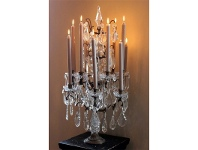 LivingStyles Estella Metal Candelabra with Cut Glass Droplets - Large