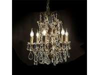 LivingStyles Chantilly Metal 6 Arm Chandelier with Cut Glass Droplets