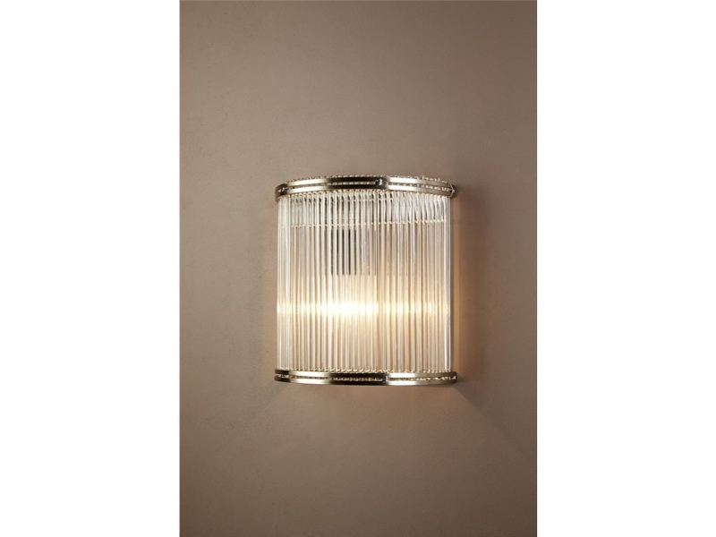 Verre Half Round Glass Wall Light, Silver / Clear