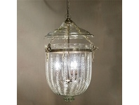 LivingStyles Bell Jar Leaf Cut Glass Pendant Light, Large