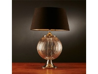 LivingStyles Aspen Glass Table Lamp with Black Linen Shade