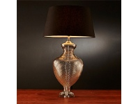 LivingStyles Prada Glass Table Lamp with Black Linen Shade
