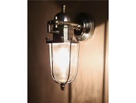 LivingStyles Chapel Metal Outdoor Bunker Wall Lamp - Antique Silver
