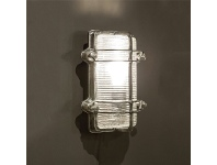 LivingStyles Harley Metal & Glass Bunker Wall Light, Antique Silver